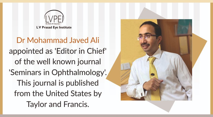 Dr. Javed Ali Appointed as Chief Editor of